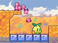 Attacking a position using multiple Kirbys in succession in Kirby: Mass Attack
