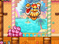 Working together against King Dedede in Kirby: Mass Attack