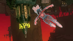 Kat floating in an in an inverse position to the cityscape in Gravity Rush