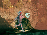 Kat running up the side of a building in Gravity Rush