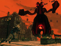 Kat charging a large enemy in Gravity Rush