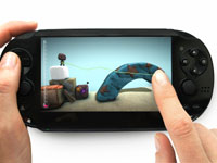 Game design screenshot showing touch controls from LittleBigPlanet for PlayStation Vita