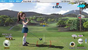 Female character-player waving from the tee in Hot Shots Golf: World Invitational