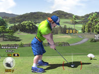 A burly male character-player teeing off in Hot Shots Golf: World Invitational