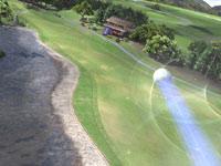 A struck ball streaking down the fairway in Hot Shots Golf: World Invitational