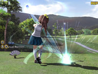 A replay of a female character-player unleashing a massive drive in Hot Shots Golf: World Invitational