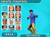 Selecting a face for a fighter at the 'Create a Fighter' screen from Reality Fighters