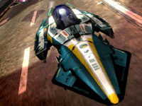 A close-up view of an antigravity vehicle during a race in WipEout 2048