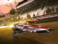 The leader in a race taking fire from competitors as they pass the grandstand in WipEout 2048