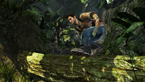 Nathan Drake jumping over a log in Uncharted: Golden Abyss