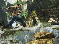 Nathan Drake fjording a river in Uncharted: Golden Abyss