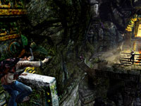 Nathan Drake taking aim at enemies with a pistol in Uncharted: Golden Abyss