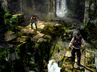 Nathan Drake following a companion in Uncharted: Golden Abyss