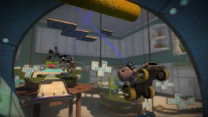 Using the LBP grapple hook in a race involving platforming elements in LittleBigPlanet Karting