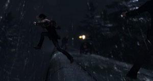 Jodie Holmes leaping from the top of a train to elude pursuers in Beyond: Two Souls