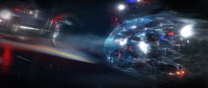Jodie Holms' etherial in-game companion shielding her as she speeds past enemies on a motorcycle in Beyond: Two Souls