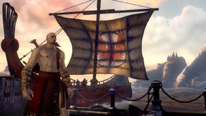The beginning of the campaign with Kratos landing on shore under the banner of Athena in God of War: Ascension