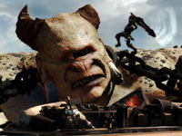 Kratos making a leaping attack at the cyclops Polyphemus in God of War: Ascension