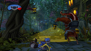 Sly Cooper using the darkness to avoid an enemy in Sly Cooper: Thieves in Time