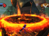 A boss battle in Sly Cooper: Thieves in Time
