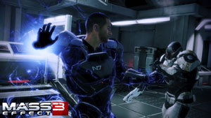 Shepard in close combat with an enemy in Mass Effect 3