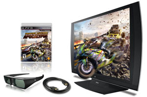 The PlayStation 3D Display with included accessories and MotorStorm: Apocalypse