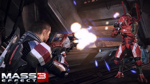 Shepard shooting at an enemy at close range in Mass Effect 3