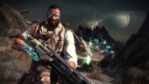 Hero shot of Emmett Graves, locked and loaded for battle in Starhawk