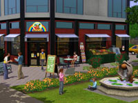 A retail space and its surroundings in The Sims 3: Town Life Stuff