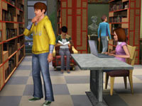 Young Sims at work in the library in The Sims 3: Town Life Stuff