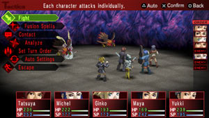 Turn-based battle screenshot from Shin Megami Tensei: Persona 2 Innocent Sin