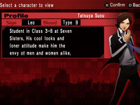 Character profile screen for Tatsuya Suou from Shin Megami Tensei: Persona 2 Innocent Sin