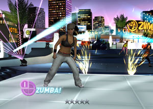 Zumba Fitness 2 instructor in a nightime city environment