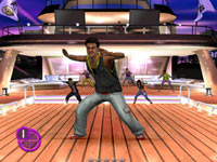 Male Zumba Fitness 2 instructor leading a dance workout on a boat