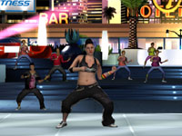 Female Zumba Fitness 2 instructor leading a dance group
