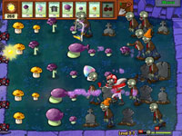 Nightime gameplay screen from Plants vs. Zombies: Game of the Year Disco Zombie Limited Edition