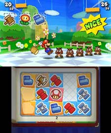 Mario using the hammer sticker against attacking enemies in Paper Mario: Sticker Star