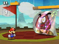 Mario facing an enemy in a Medieval battle arena in Paper Mario: Sticker Star