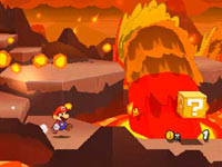 Mario searching for hidden stickers in the game world in Paper Mario: Sticker Star