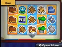 Mario's sticker attack plan lined up in a grid in Paper Mario: Sticker Star