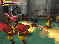 The Red Ranger taking on multiple enemies with a flaming swords in Power Rangers Samurai