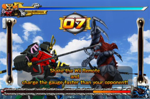 Amazon power rangers samurai nintendo wii namco bandai games fighting as the giant samurai megazord in power rangers samurai for wii voltagebd Choice Image