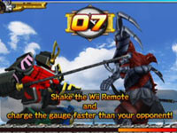 Fighting as the giant samurai Megazord in Power Rangers Samurai for Wii
