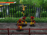 The Yellow Ranger using martial arts skills against multiple enemies in Power Rangers Samurai