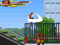 The Red Ranger in action in Power Rangers Samurai for DS
