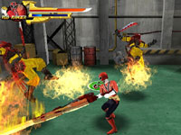 The Red Ranger taking using a flaming blade in Power Rangers Samurai for DS
