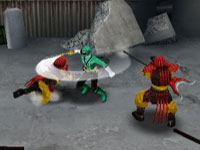 The Green Ranger wielding a blade against multiple enemies in Power Rangers Samurai for DS