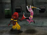 The Pink Ranger finishing a fight in Power Rangers Samurai for DS