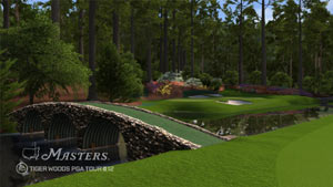 View of the bridge and green on the 12th hole at Augusta in Tiger Woods PGA Tour 12: The Masters