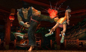 Ling Xiaoyu sent airborn by a kick in Tekken 3D Prime Edition